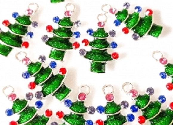 Green Crystal Christmas Tree Charm
