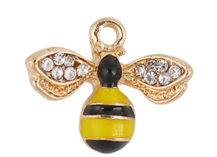 Enamelled Bee Charm/Pendant with Rhinestones