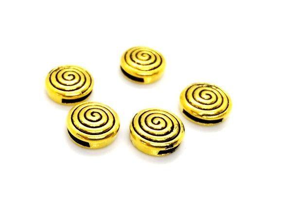Tibetan Style Metal Round Spiral Slider Bead Antique Gold - 10mm Hole