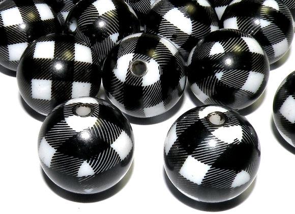 Chunky Round Beads 20mm - Black & White Check