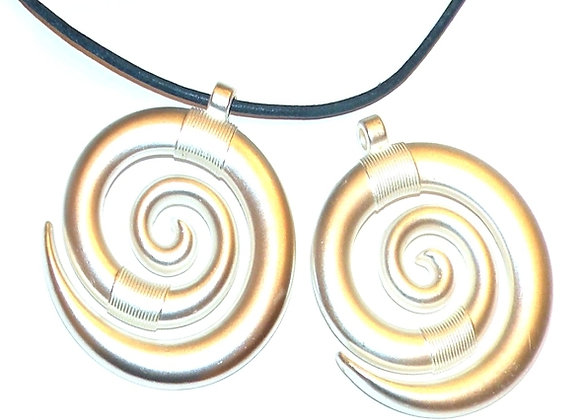 Silver Spiral Metal Pendant - Brushed Silver