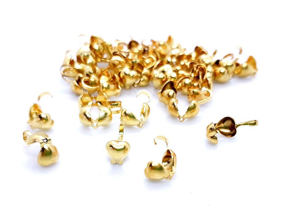 Heart Bead Tips Pack of 2 Gold