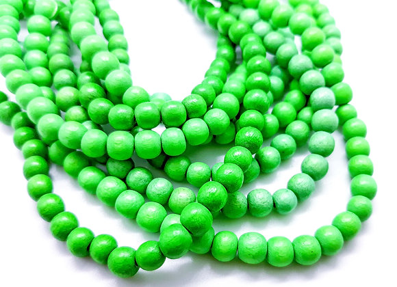 Phillippines Natural Dyed Wood Beads 5/6mm Kelly Green Pack of100