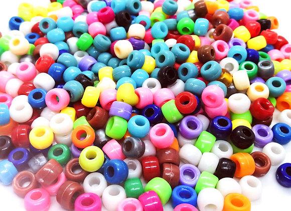 Pony Beads Plastic Barrel 6x8mm - Opaque Mix 200pk