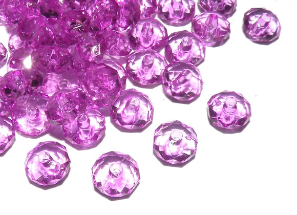 8mm Transparent Faceted Abacus Bead - Purple
