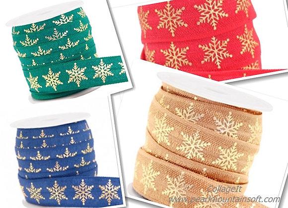 Elastic Ribbon 15mm - Snowflake Print - Choice of Colours