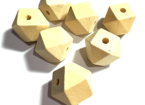 Unfinished Natural Hinoki Wood Polygon Faceted Bead