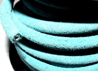 Hollow Round Leather - Light Blue 5mm