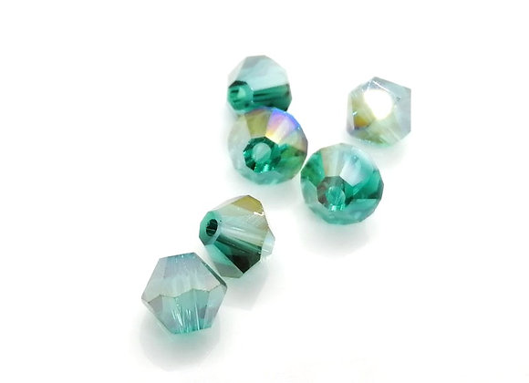 6mm Czech Crystal Bicone Bead - Aqua AB