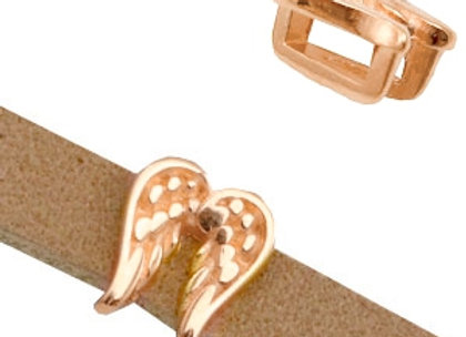 DQ Metal Angel Wing Slider Bead 5mm Hole - Rose Gold