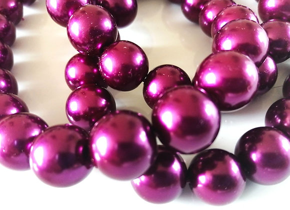 Glass Pearl Beads 14mm Magenta - Pack of 10