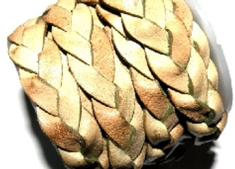 Flat Braided Leather 10mm - Light Olive