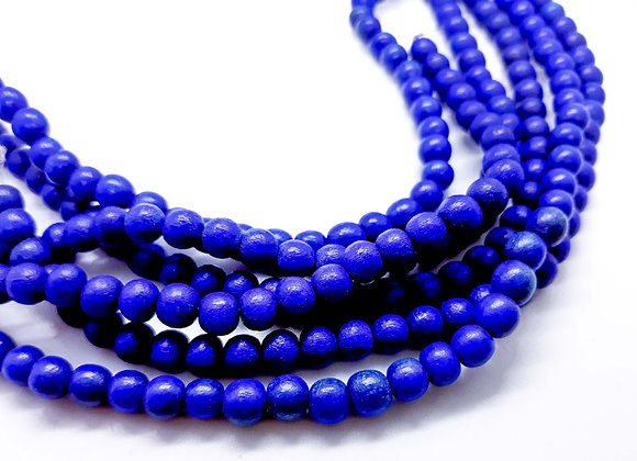 Phillippines Natural Dyed Wood Beads 5/6mm Royal Blue Pack of 100