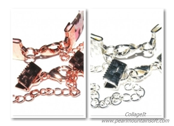 Fully Finished Ribbon Crimp Ends with Clasp 10mm - Silver or Rose Gold
