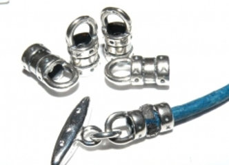 12mm Crimp Ends 3.5mm Hole Silver - Pack of Two