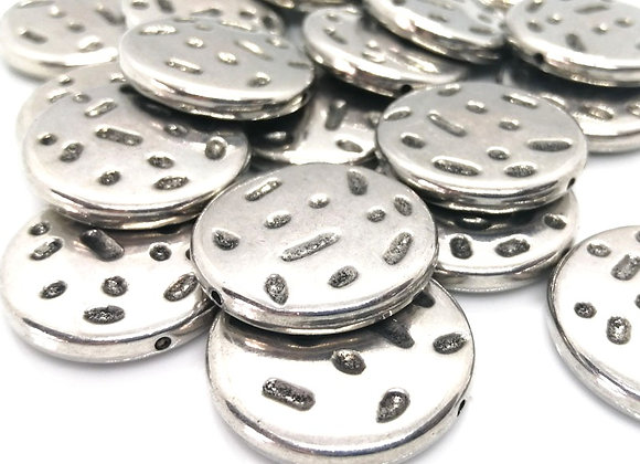 Large Flat Disc Bead Antique Silver