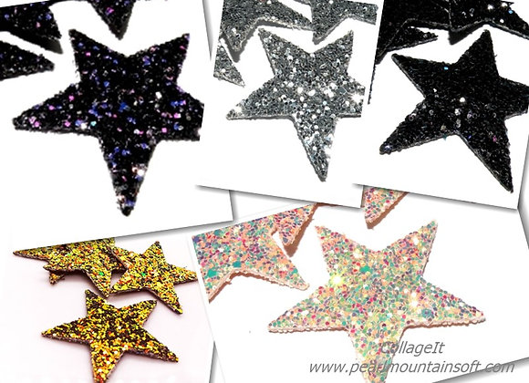 Faux Leather Glitter Star Pendant/Charm - Choice of Colours