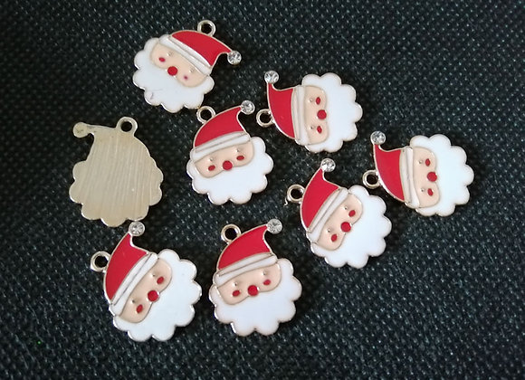 Enamelled Father Christmas Charm with Rhinestone
