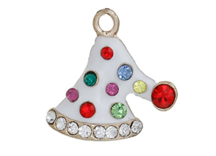 Sparkly Hat Enamelled Charm with Rhinestones