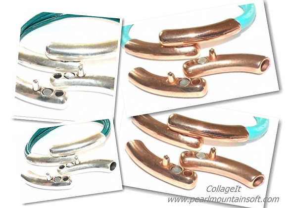 Double Bar Magnetic Clasp - 5mm Hole - Silver or Rose Gold