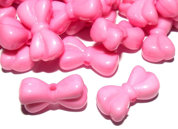 Pink Bow Bead Pack of 10