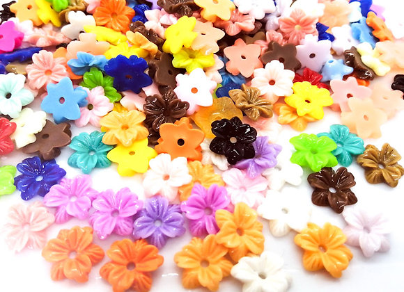 Bright Flower Slice Beads Pack of 50 Assorted