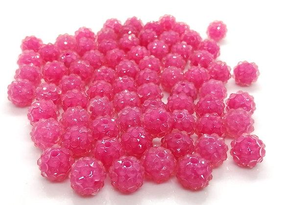 Raspberry Pink resin rhinestone disco ball shamballa bead 10mm