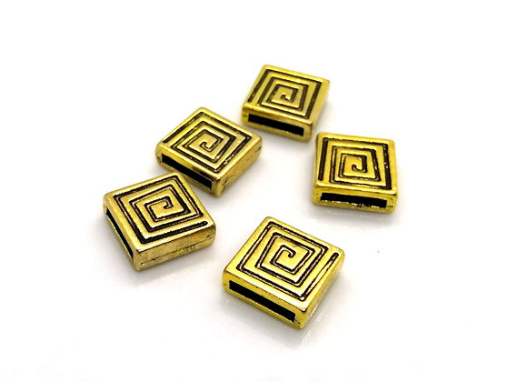 Tibetan Style Metal Square Slider Bead Gold - 10mm Hole