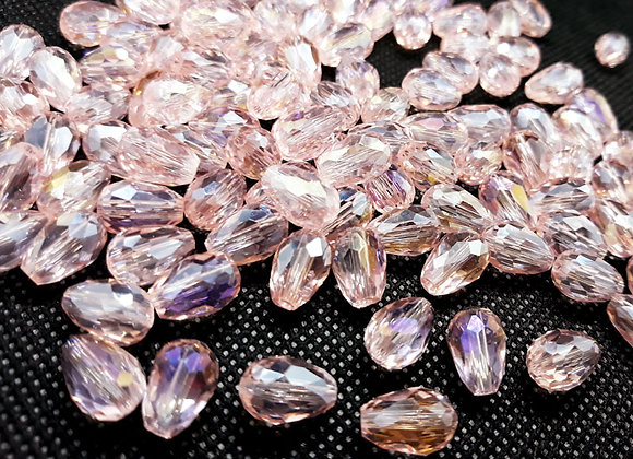 Electroplate Faceted Glass Teardrop Bead - Pale Pink 12mm Pack of 10