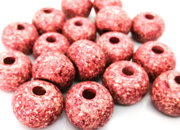 Stone Washed Ceramic Beads - 20mm Pink