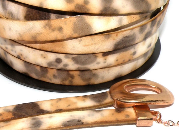 Cream/Brown Pattern Flat Leather 10mm