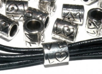 Tibetan Style Heart Tube Bead -8x9mm - Antique Silver