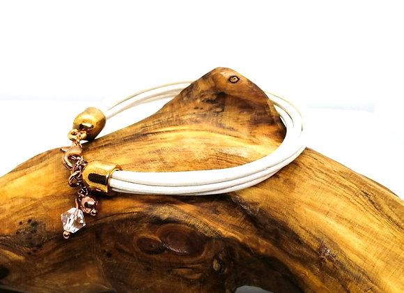 5 Strand Round White Leather Bracelet Size Small