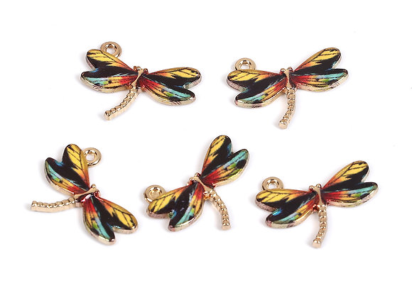 Enamelled Charm - Dragonfly Yellow Blue
