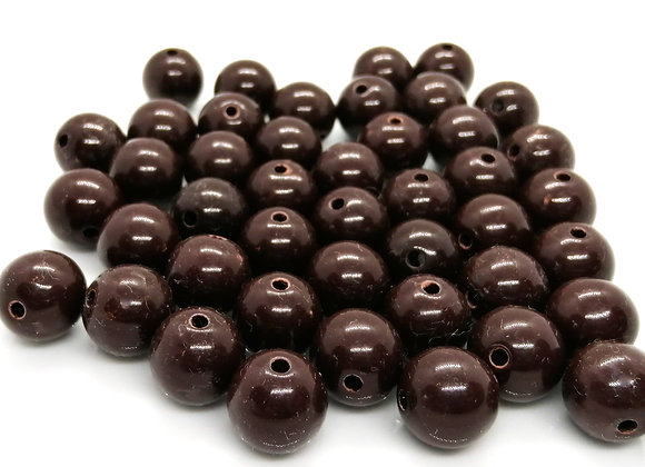 Opaque Round Bead 14mm - Chocolate Brown