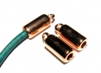 Rose Gold Cord End 3mm Hole - Pack of 2