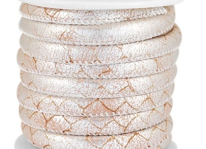 Stitched Faux Leather 6x4mm Reptile Pale Blush Rose/Silver Metallic