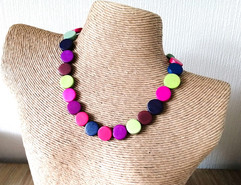 Multicolour wood disc beads necklace