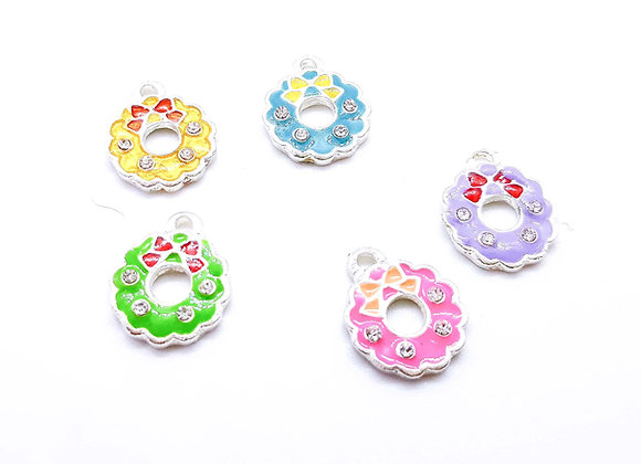 Enamelled Wreath Charm with Rhinestones - Choice of Colours