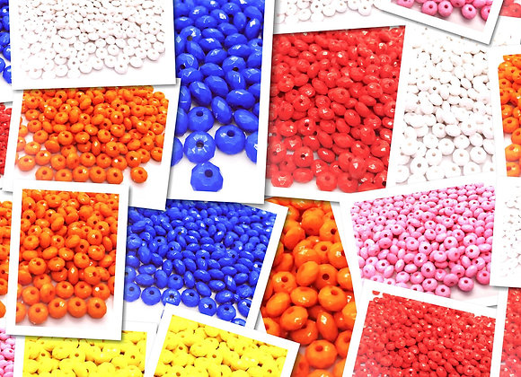 Opaque Faceted Abacus Bead 8mm - Choice of Colours - Pack of 50