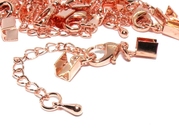 Rose Gold Fully Finished Ends with Chain & Clasp 3mm Hole