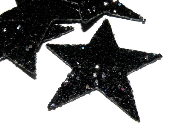 Faux Leather Glitter Star Pendant/Charm Black - Pack of 2