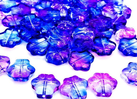 Spray Painted Glass Dog Paw Print Beads 12mm - Mauve