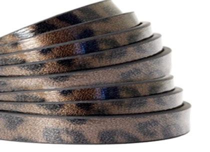 Flat Faux Leather 5mm - Leopard Print Cedar Brown