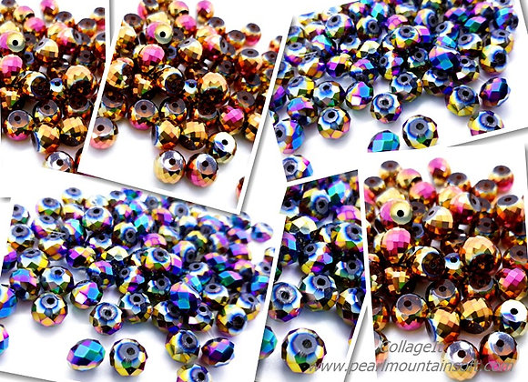 Electroplate Glass Abacus Bead 6x8mm - Rose Gold or Blue