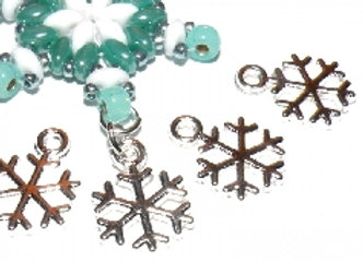 Silver Snowflake Charm Pack of 10