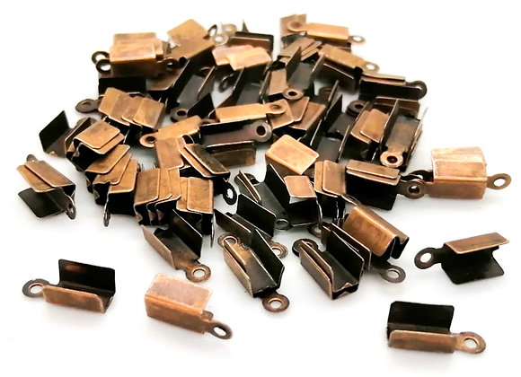 Fold Over Cord End Copper 10x3.5mm - Pack of 10
