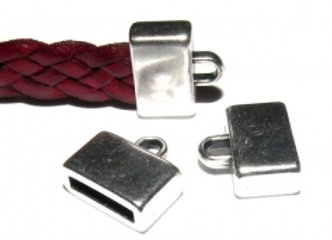 Silver Flat Cord End 10mm Hole - Pack of 2