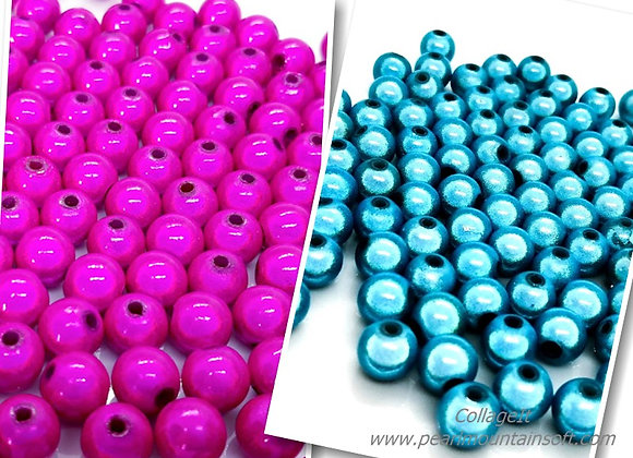 Round Miracle Beads 8mm - Hot Pink or Turquoise - Pack of 25