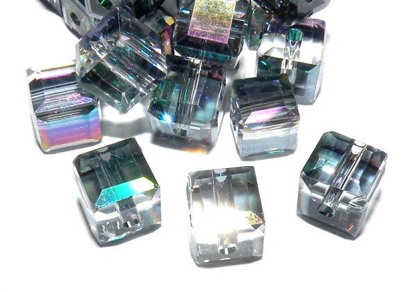 Electroplated Glass Cube Bead 6mm Clear-Aqua  AB
